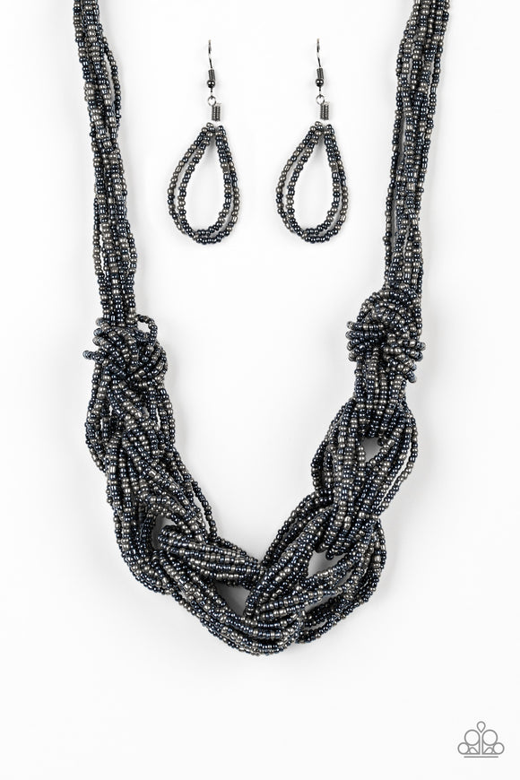 City Catwalk Blue Seed Bead Necklace -Paparazzi Accessories