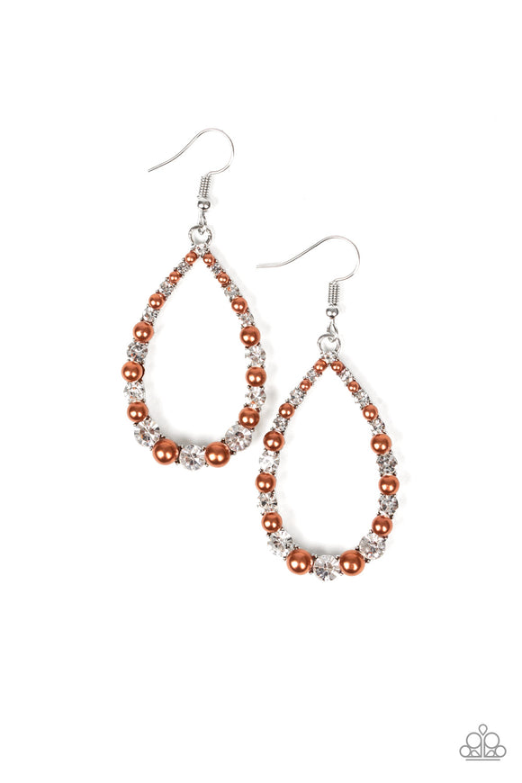 Gala Go-Getter Brown Earring - Paparazzi Accessories