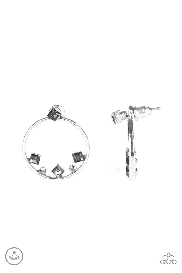 Top-Notch Twinkle Silver Jacket Earring - Paparazzi Accessories