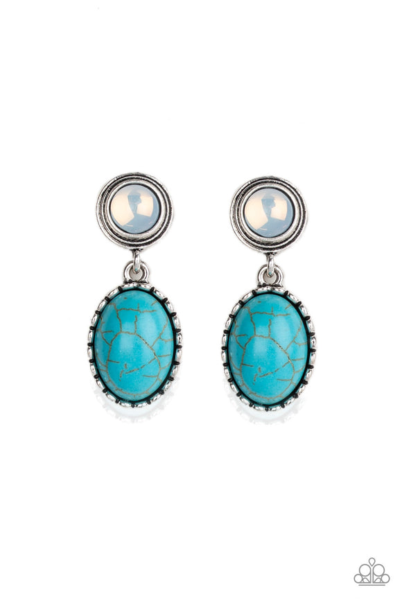 Western Oasis Blue Earring - Paparazzi Accessories