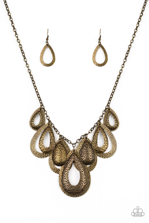 Teardrop Tempest Brass Necklace - Paparazzi Accessories