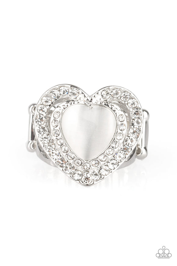 What The Heart Wants White Ring - Paparazzi Accessories