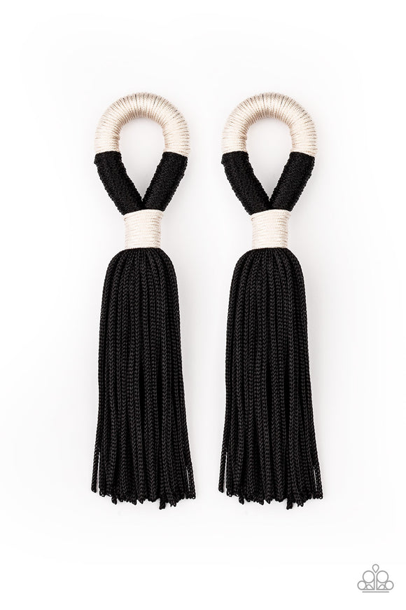 Moroccan Mambo Black Tassel Earring - Paparazzi Accessories