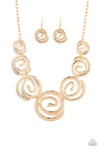 Statement Swirl Gold Necklace - Paparazzi Accessories