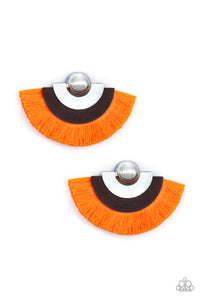 Fan The FLAMBOYANCE Orange Earring - Paparazzi Accessories