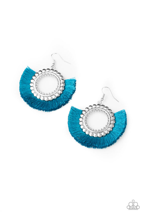 Fringe Fanatic Blue Earring - Paparazzi Accessories