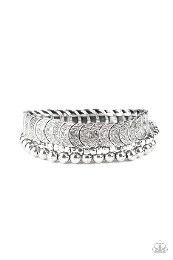 LAYER It On Me Silver Bracelet - Paparazzi Accessories