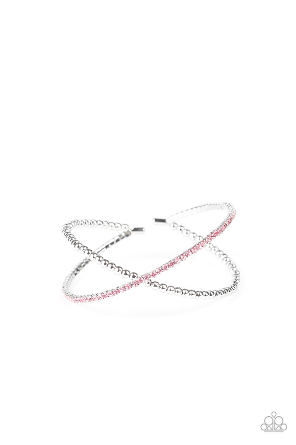 Chicly Crisscrossed Pink Cuff Bracelet - Paparazzi Accessories