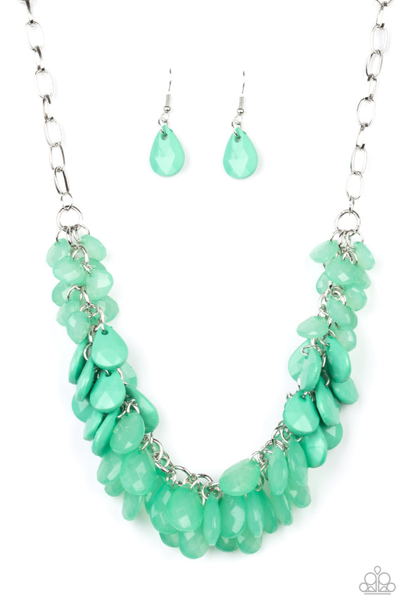 Colorfully Clustered Green Necklace - Paparazzi Accessories