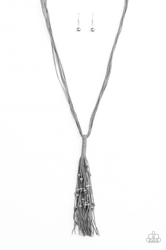 Hand-Knotted Knockout Silver Necklace - Paparazzi Accessories