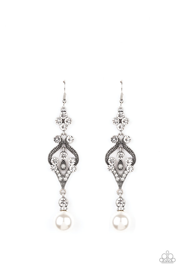 Elegantly Extravagant White Earring - Paparazzi Accessories