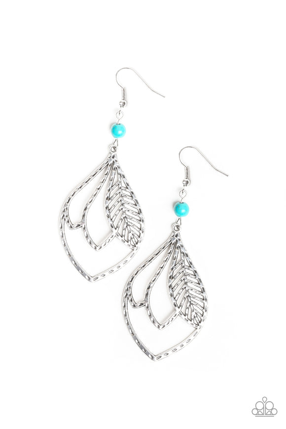 Absolutely Airborne Blue Earring - Paparazzi Accessories - jazzy-jewels-gems