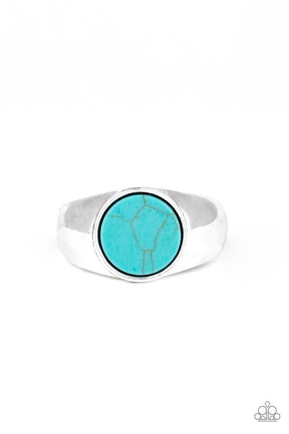 Carbon Print Blue Urban Ring - Paparazzi Accessories