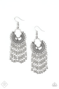 Catching Dreams Silver Earring - Paparazzi Accessories