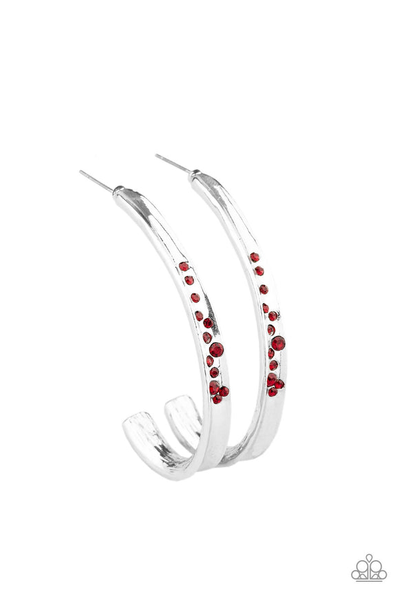 Completely Hooked Red Hoop Earring - Paparazzi Accessories
