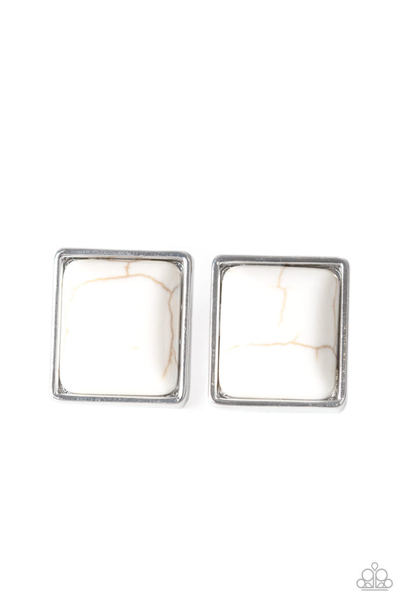 Eco Elegance White Stone Earring - Paparazzi Accessories