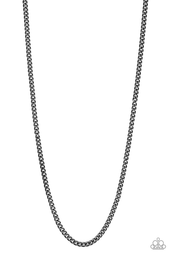First Rule Of Fight Club Black Urban Necklace - Paparazzi Accessories