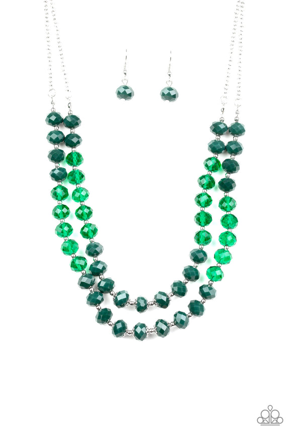 Glitter Gratitude Green Necklace - Paparazzi Accessories - jazzy-jewels-gems