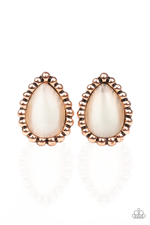 I Wanna GLOW Copper Post Earring - Paparazzi Accessories