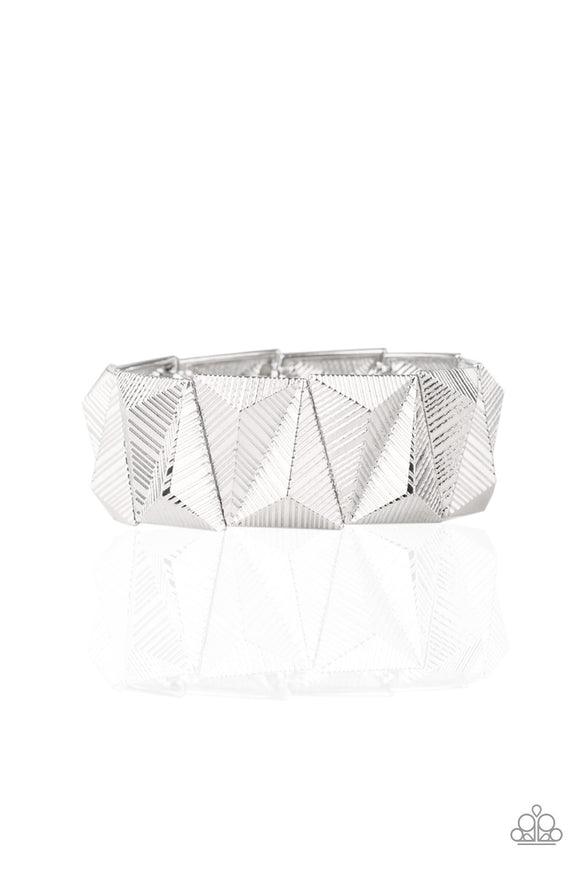 Metallic Geode Silver Bracelet - Paparazzi Accessories