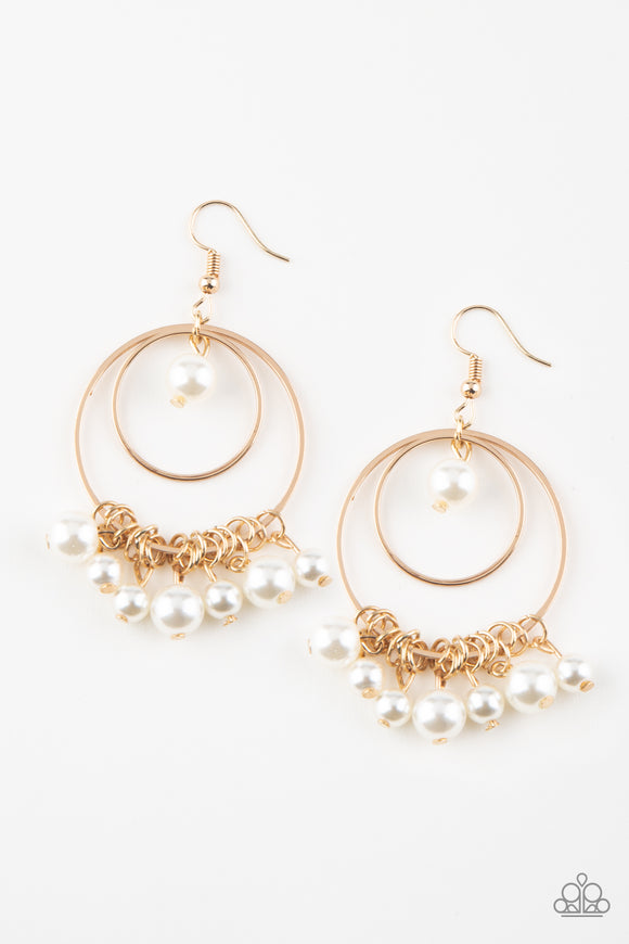 New York Attraction Gold Earring - Paparazzi Accessories