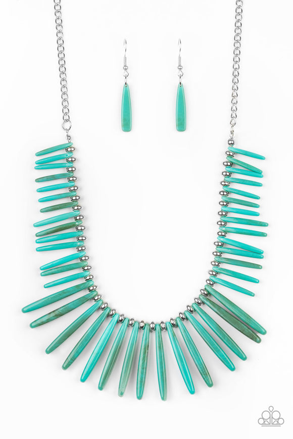 Out of My Element Blue Acrylic LOP Necklace - Paparazzi Accessories