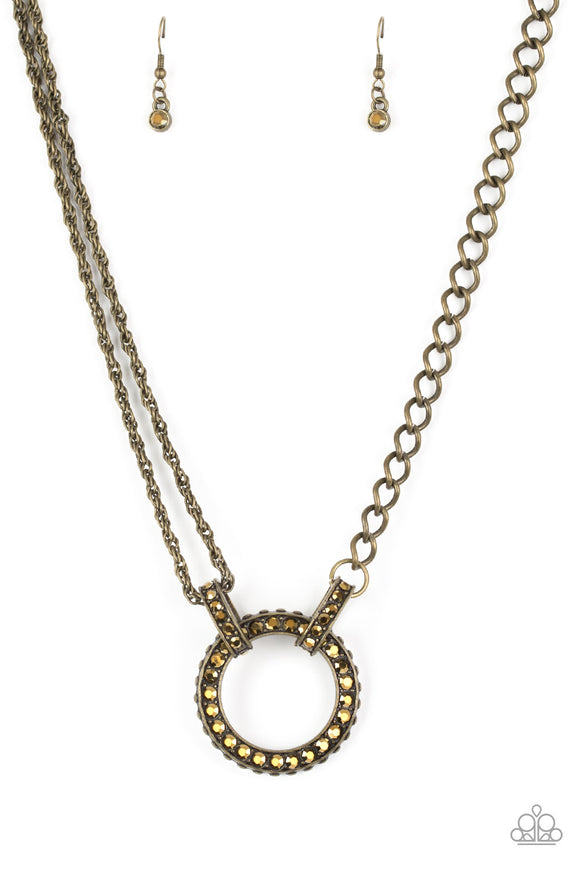 Razzle Dazzle Brass Necklace - Paparazzi Accessories