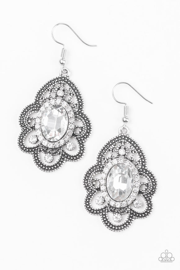 Reign Supreme White Earring - Paparazzi Accessories
