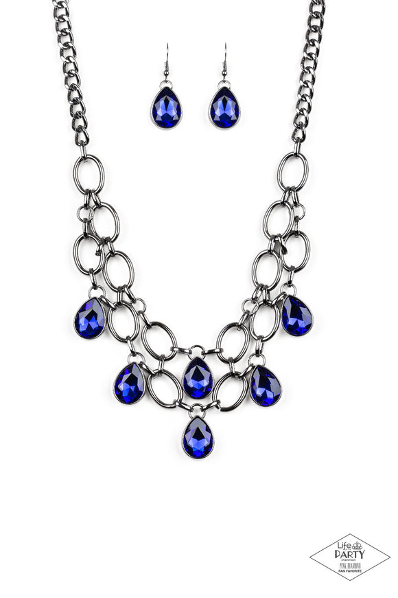 Show-Stopping Shimmer Blue Necklace - Paparazzi Accessories