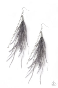 Showstopping Showgirl Silver Feather Earring - Paparazzi Accessories