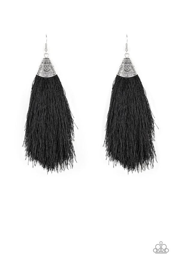 Tassel Temptress Black Fringe Earring - Paparazzi Accessories - jazzy-jewels-gems