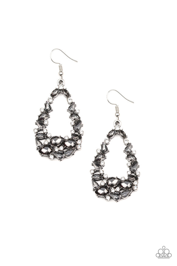 To BEDAZZLE, or Not To BEDAZZLE Silver Earring - Paparazzi Accessories
