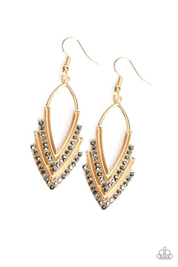 Tour de Force Gold Earring - Paparazzi Accessories