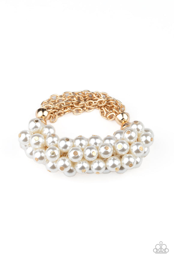 Up Class Clash Gold Pearl Bracelet - Paparazzi Accessories