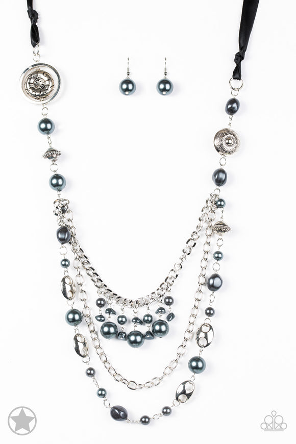 All The Trimmings Black Blockbuster Necklace - Paparazzi Accessories - jazzy-jewels-gems