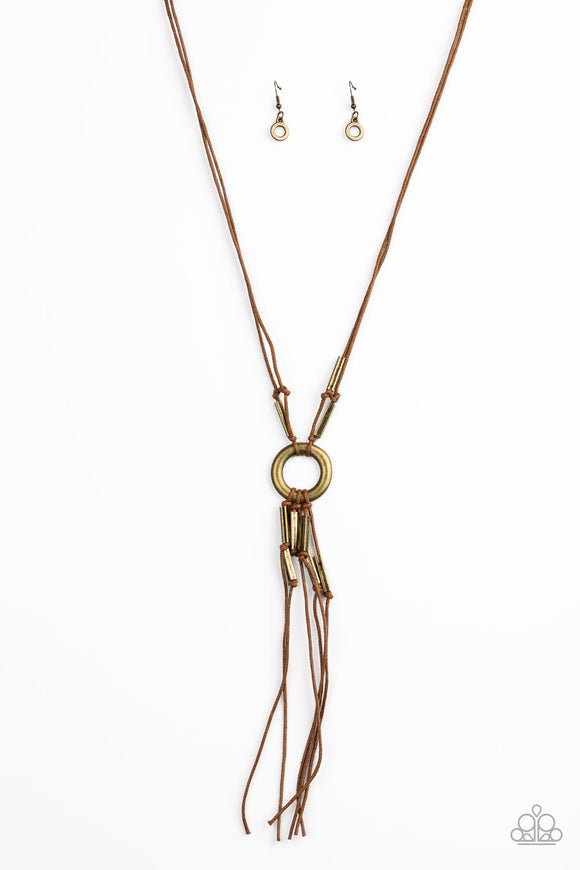 Tasseled Trinket Brass Necklace - Paparazzi Accessories