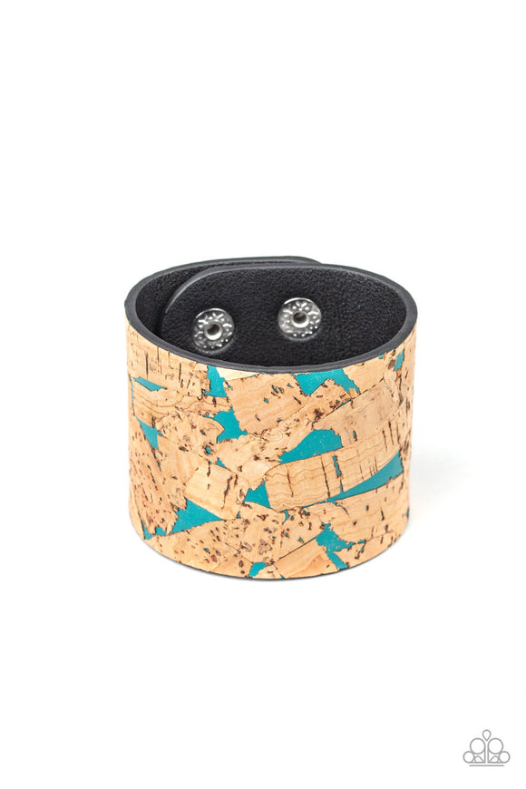 Cork Congo Blue Wrap Bracelet - Paparazzi Accessories