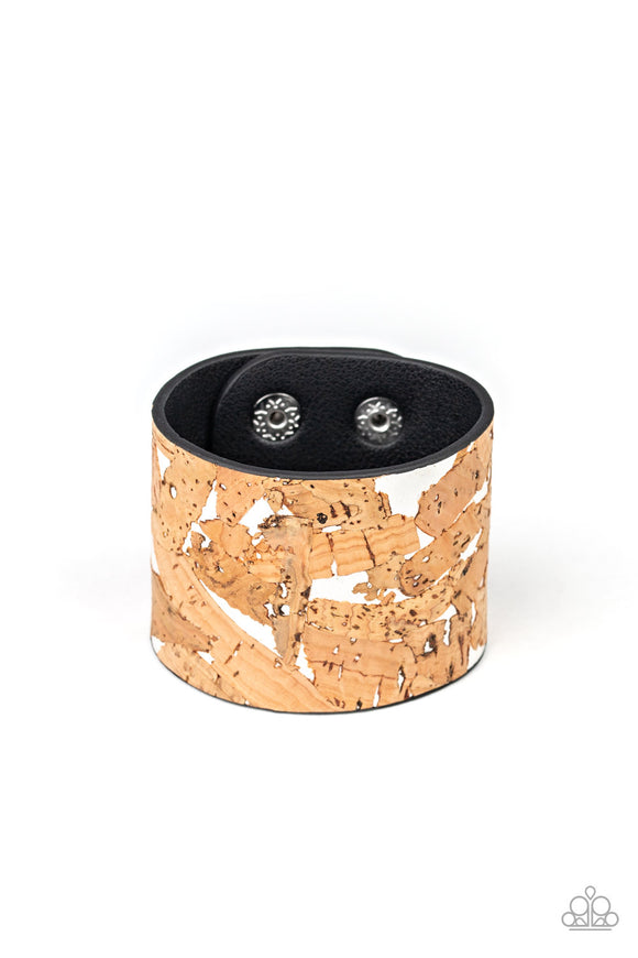 Cork Congo White Wrap Bracelet - Paparazzi Accessories