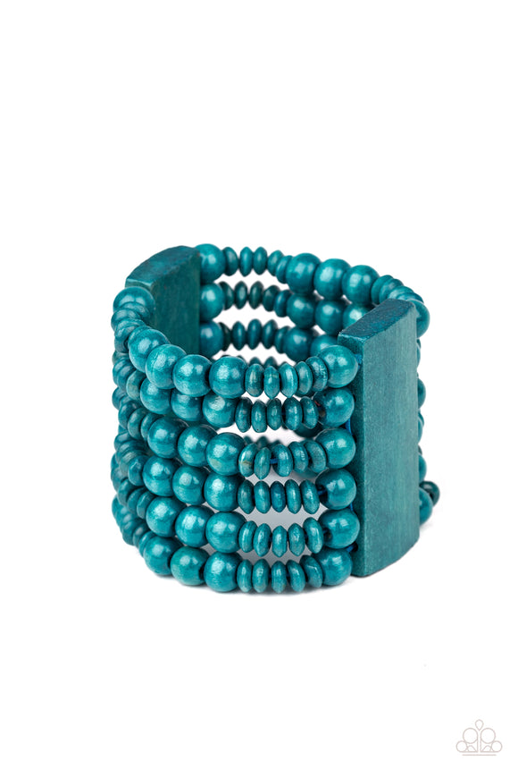 Dont Stop BELIZE-ing Blue Wooden Bracelet - Paparazzi Accessories