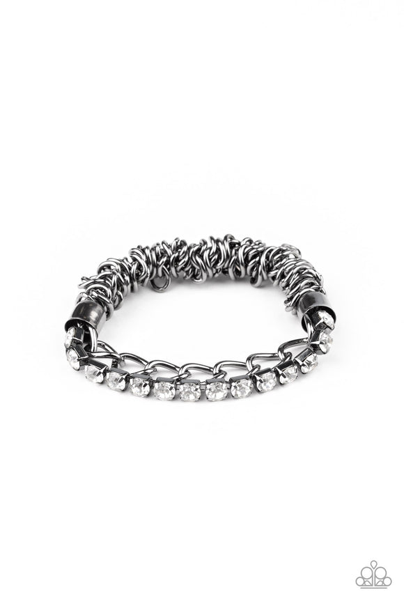Glamour Grid Black Bracelet - Paparazzi Accessories