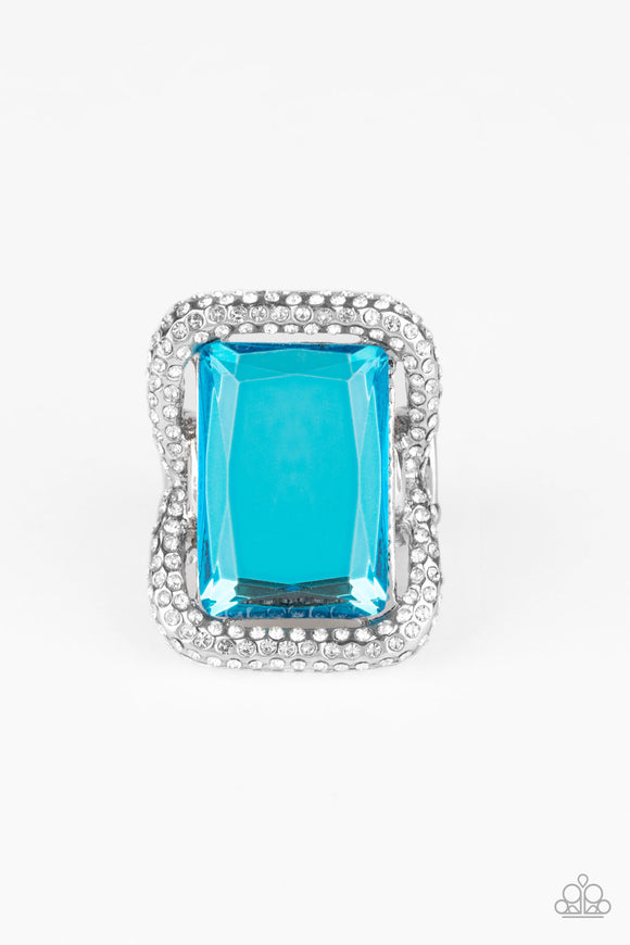 Deluxe Decadence Blue Ring - Paparazzi Accessories