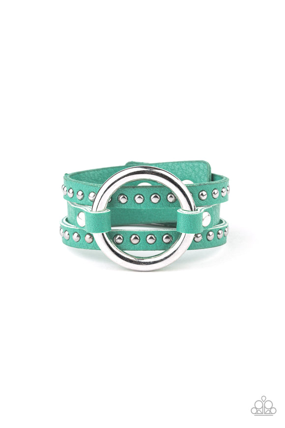 Studded Statement-Maker Green Bracelet - Paparazzi Accessories