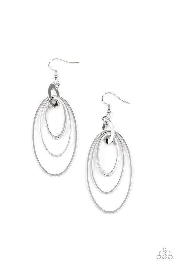 Shimmer Surge Silver Earring - Paparazzi Accessories