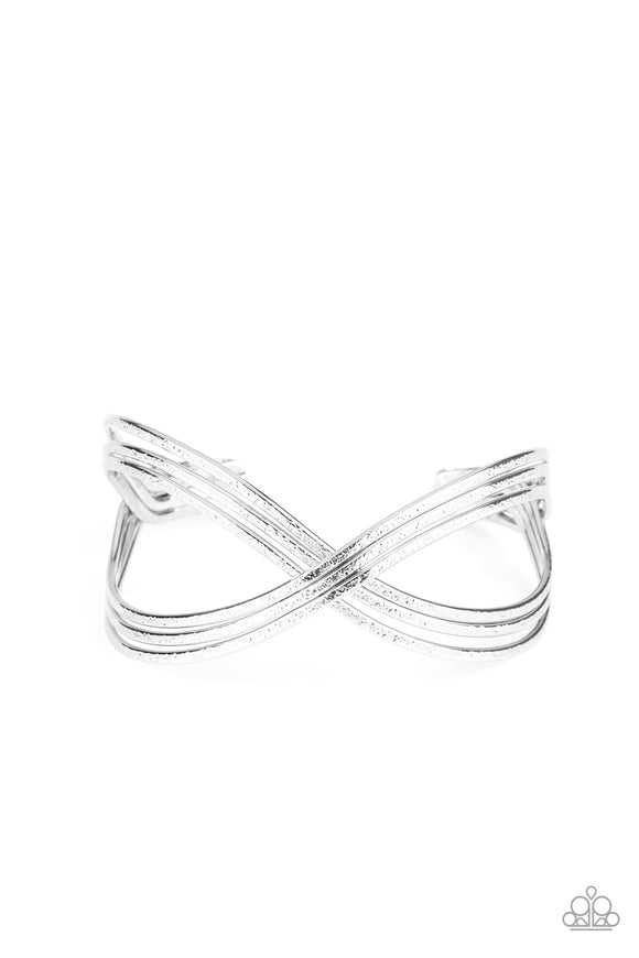 Infinitely Iridescent Silver Cuff Bracelet - Paparazzi Accessories