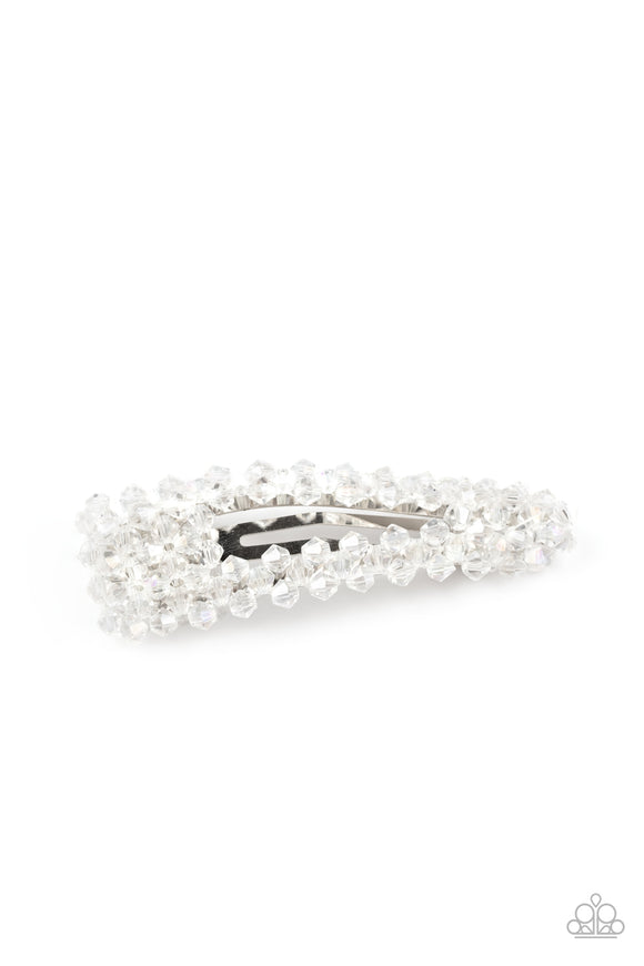 Just Follow The Glitter White Hair Clip - Paparazzi Accessories