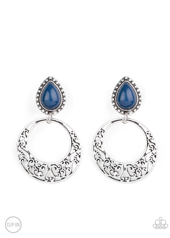 Exotic Escape Blue Clip-On Earring - Paparazzi Accessories