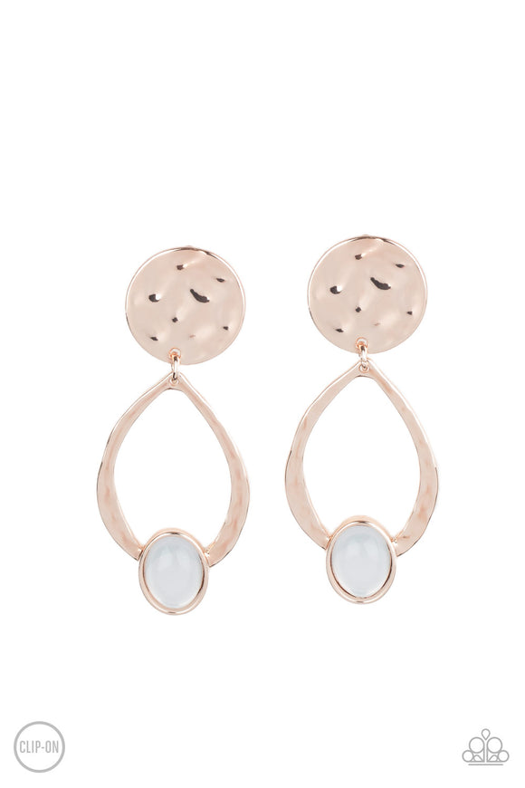 Opal Obsession Rose Gold Clip-On Earring - Paparazzi Accessories