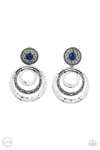 Bare Your Soul Blue Clip-On Earring - Paparazzi Accessories