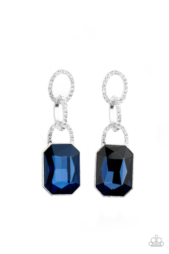 Superstar Status Blue Earring - Paparazzi Accessories
