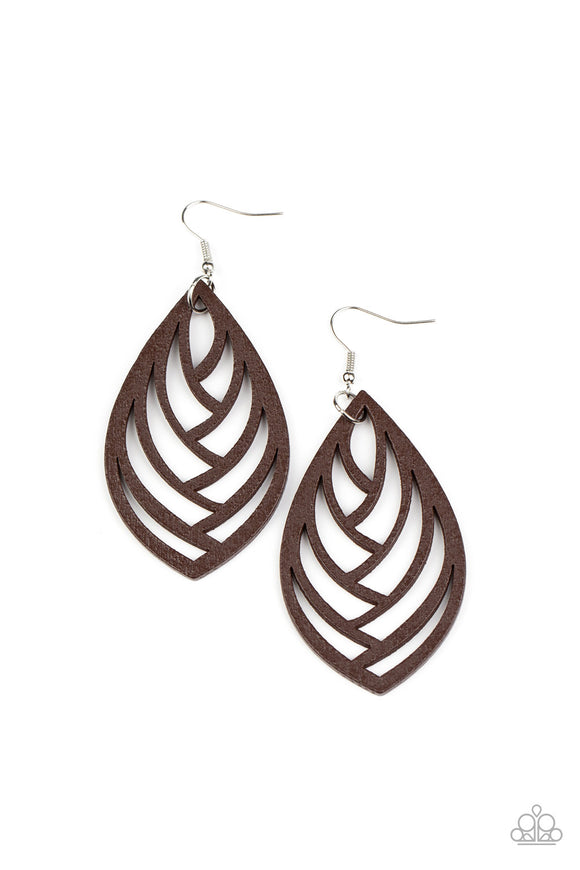 Out of the Woodwork Brown Earring - Paparazzi Accessories